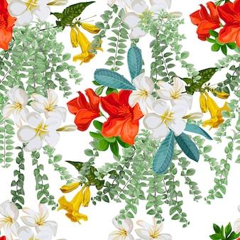 シームレスパターンの熱帯の花
