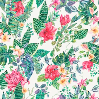 Seamless pattern of tropical flowers and leaves