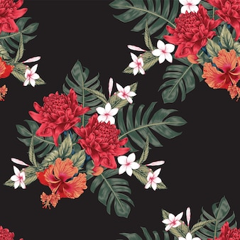 Seamless pattern tropical flowers