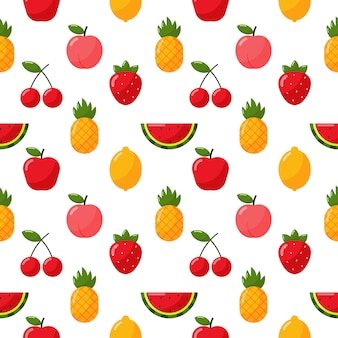 Seamless pattern tropical fruit isolate on white