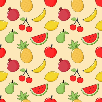 Seamless pattern tropical fruit. isolated on cream