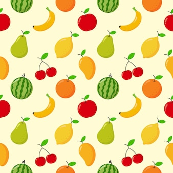 Seamless pattern tropical fruit isolated on cream.
