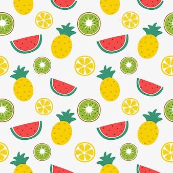 원활한 패턴 열대 과일 흰색 배경에 고립