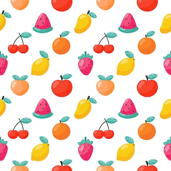 Seamless pattern tropical fruit isolated. vector illustration.