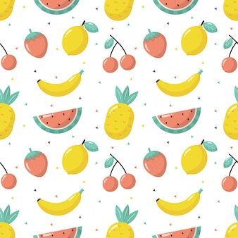 Seamless pattern tropical fruit isolated on white background.