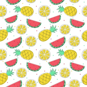 Seamless pattern tropical fruit isolated