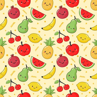 Seamless pattern tropical fruit kawaii style on cream