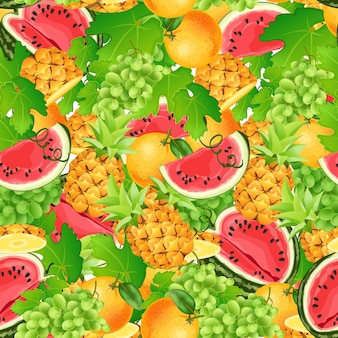 Seamless pattern of tropical fruits