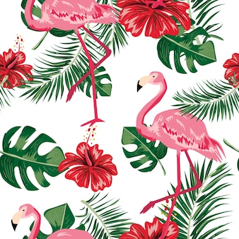 Seamless pattern of tropical leaf, flower and flamingo.