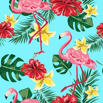 Seamless pattern of tropical leaf flower and flamingo.