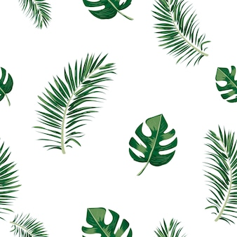 Seamless pattern of tropical leaf.