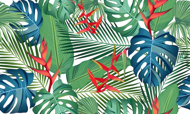Seamless pattern tropical leaves with flower