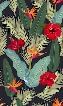 Бесшовные тропических листьев с красным цветком гибискуса и райской птицей Premium векторы