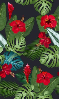 Seamless pattern tropical leaves with red hibiscus flower