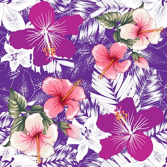 Seamless pattern tropical lilly,hibiscus flowers abstract background.