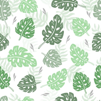 Seamless pattern tropical monstera and palm design wallpaper