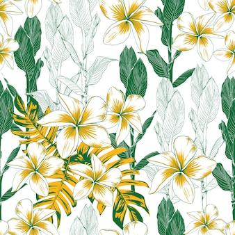花と葉を手描きでシームレスなパターンの熱帯自然の背景