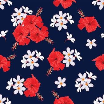 シームレス パターン熱帯の自然の背景の手で花柄のデザインを描く