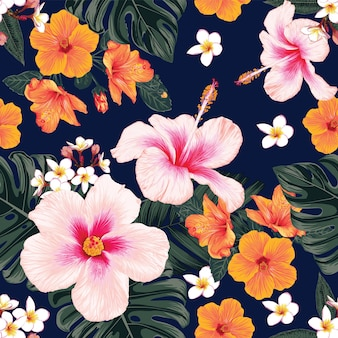 Seamless pattern  tropical nature background with hand draw floral and leaves