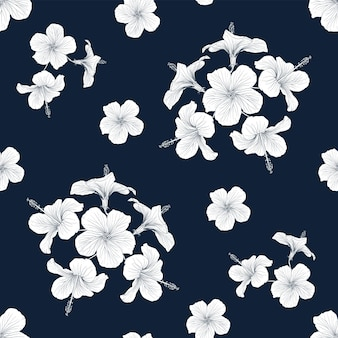 Seamless pattern  tropical nature background with hand draw floral