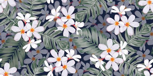 花と葉を手描きでシームレスなパターンの熱帯の自然