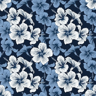 Seamless pattern tropical nature   with hand draw floral hibiscus flowers