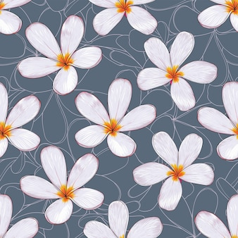Seamless pattern tropical nature   with hand draw floral