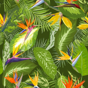 Seamless pattern. tropical palm leaves. tropical flowers.