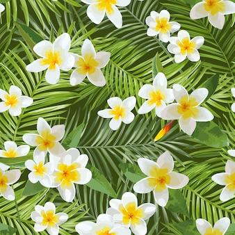 Бесшовные модели. тропические пальмовые листья. тропические цветы.