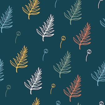 Seamless pattern of tropical plant and pines leaves floral in dark green background.
