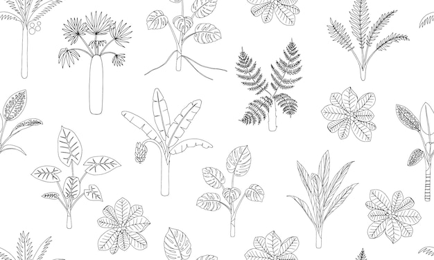 Seamless pattern of tropical plants.