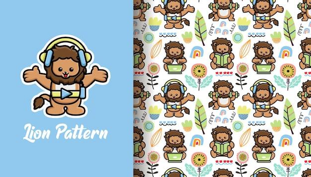 귀여운 사자와 원활한 패턴 열 대 여름