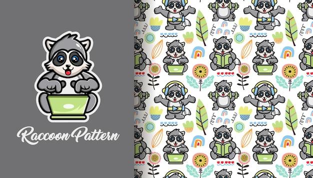 귀여운 너구리와 원활한 패턴 열 대 여름
