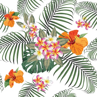 Seamless pattern tropical summer with frangipani