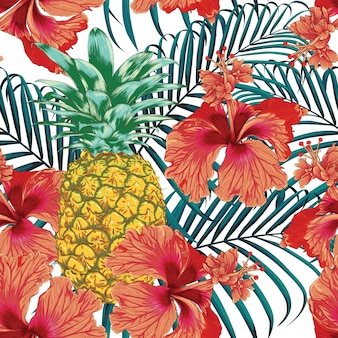 Seamless pattern tropical summer with hibiscus flowers pineapple and palm leaves abstract background.