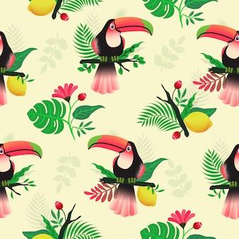 큰 부리 새와 꽃 원활한 패턴 열 대 테마