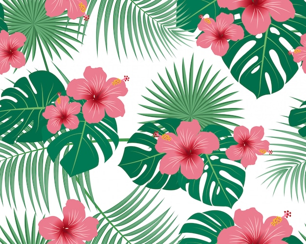 Seamless pattern of tropical tropical floral and leaves