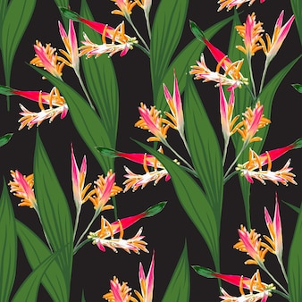 Seamless pattern tropical with bird of paradise flowers background.