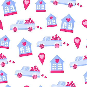 Seamless pattern of truck with heart, geotag and house