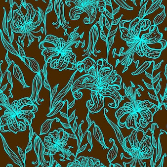 Seamless pattern of turquoise lilies