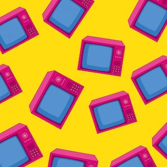 Seamless pattern of tv nineties of retro style
