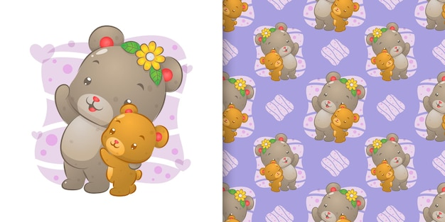 The seamless pattern of the two sibling bear waving their hands of illustration