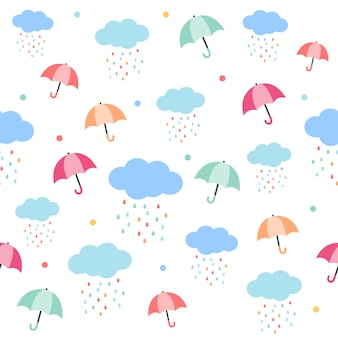 The seamless pattern of umbrella and rain cloud. the pattern of umbrella. the raindrop form the cloud with a rainbow color. the cute pattern in flat vector style.