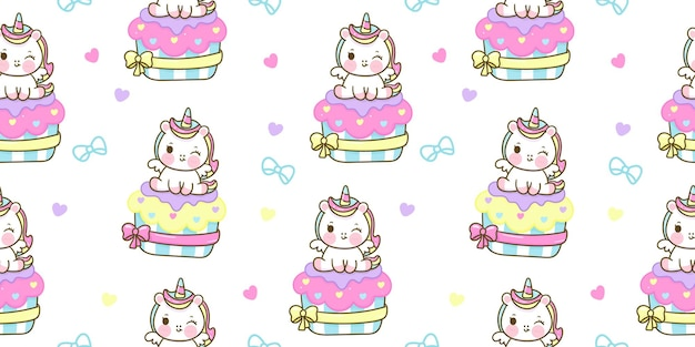 Seamless pattern unicorn cartoon sit on pastel cupcake kawaii animal
