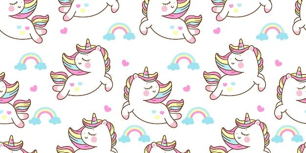 Бесшовный узор единорог мультфильм с радугой каваи животных