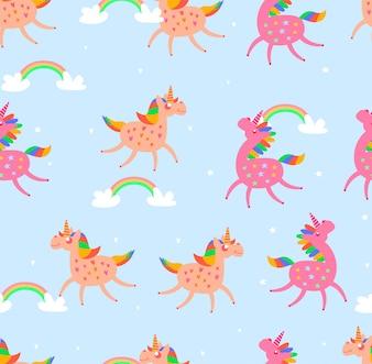 Seamless pattern unicorn on blue background