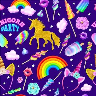 Seamless pattern of unicorn party.