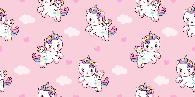 Seamless pattern unicorn pegasus cartoon  on sky kawaii animal