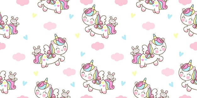 Seamless pattern unicorn pegasus cartoon with bunny rabbit kawaii animal