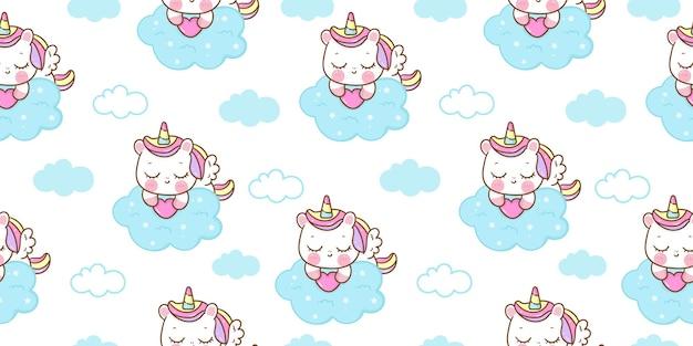 Seamless pattern unicorn pegasus sleeping on cloud kawaii animal